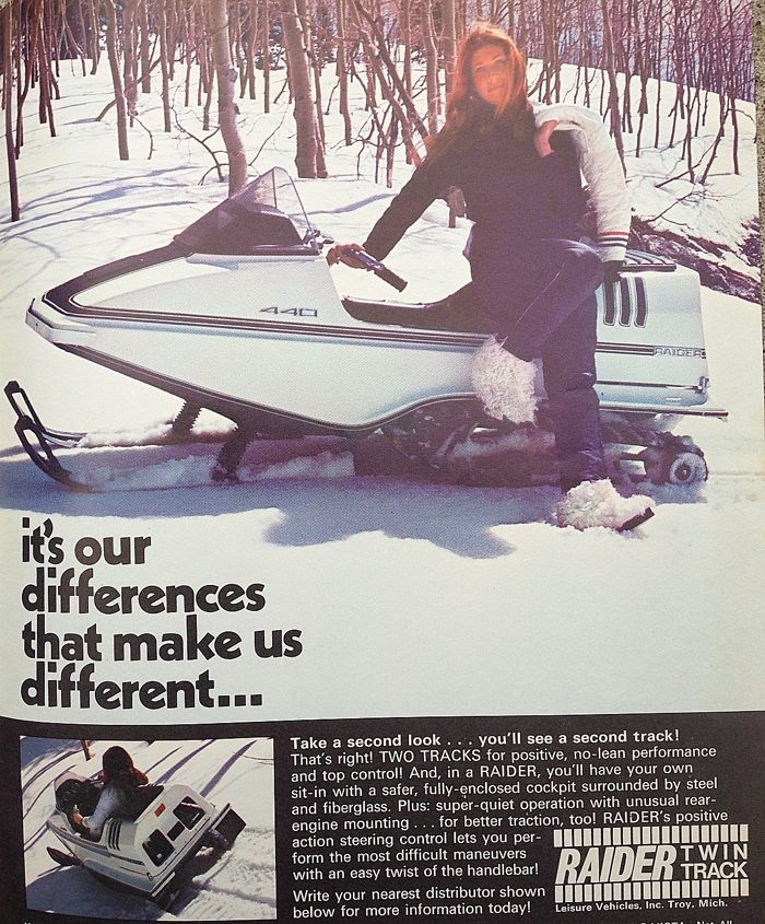 TGIF vintage Raider snowmobile ad from 1971-72, posted by ArcticInsider.com
