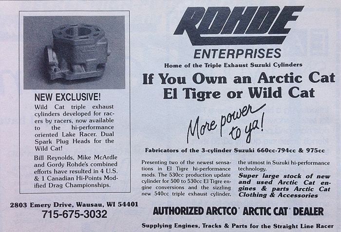 A snowmobile engine performance ad from Rohde Enterprises.