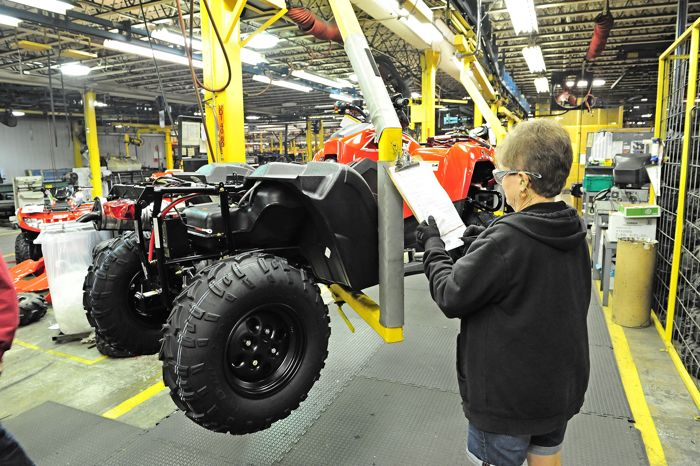 2015 Arctic Cat 700 ATV on the production line. Photo by ArcticInsider.com
