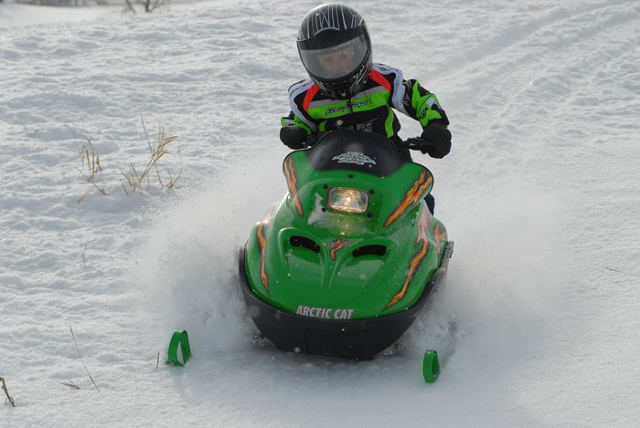 Cal Sandberg riding his Arctic Cat Z120. Photo by ArcticInsider.com