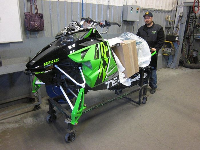 2015 Arctic Cat ZR6000R race sled models on the production line.