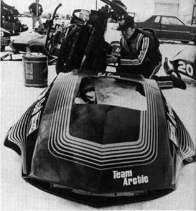 Bob Elsner with his 1976 Arctic Cat Sno Pro racer.