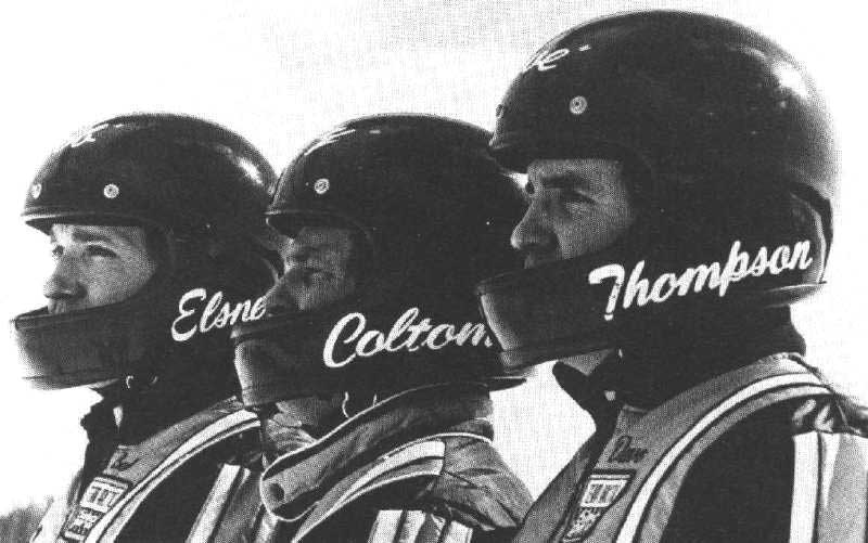 Team Arctic Sno Pro 1976 with Bob Elsner, Larry Coltom and Dave Thompson.