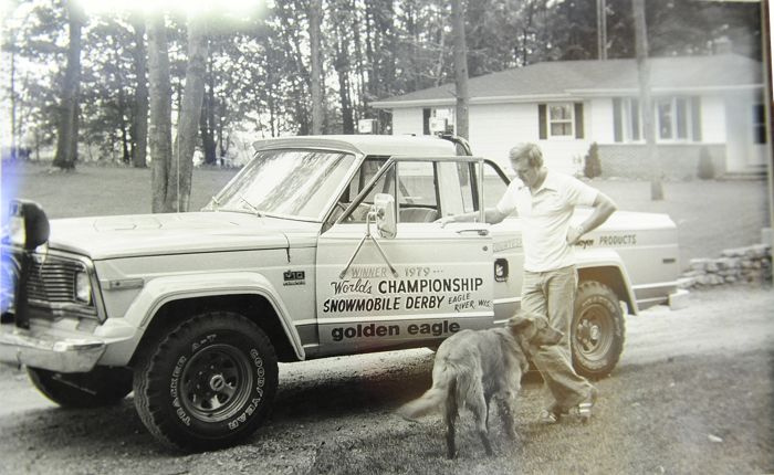 Team Arctic's Bob Elsner with the Jeep he won at the 1979 World Championships.