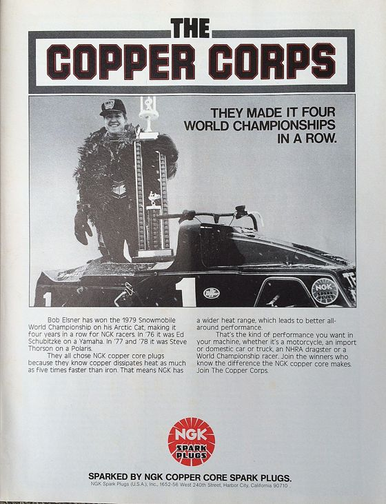 NGK sparkplug advertisement with Team Arctic's Bob Elsner in 1979