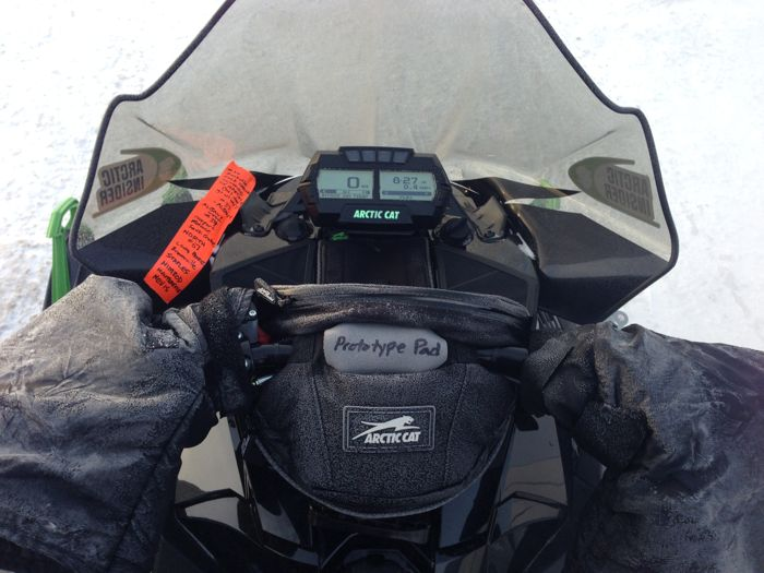 My favorite piece of snowmobile gear: handlebar muffs. Photo ArcticInsider.com