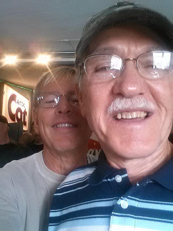 Jim Dimmerman and Bob Elsner doing a selfie.