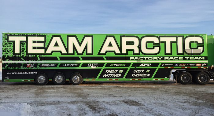 Factory Team Arctic Snocross Race Trailer for 2015.