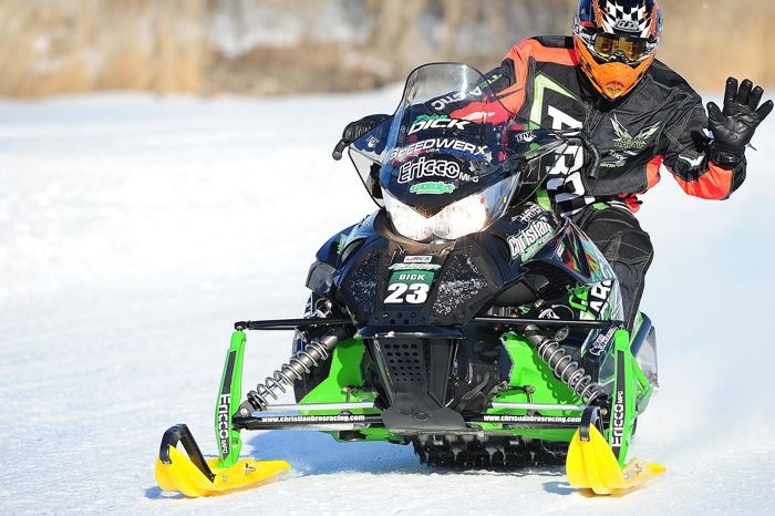 Like a true turkey, Team Arctic Cat's Brian Dick waves to his fan. Photo by ArcticInsider.com