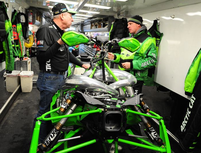 Russ Ebert and Mike Kloety inside the Factory Team Arctic race trailer. Photo by ArcticInsider.com