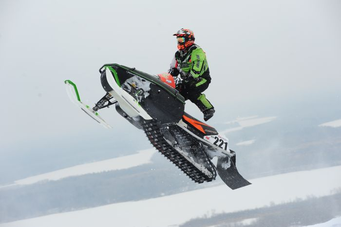 Nate Ewing races a custom 1995 Arctic Cat EXT at the '15 Duluth snocross. Photo by ArcticInsider.com