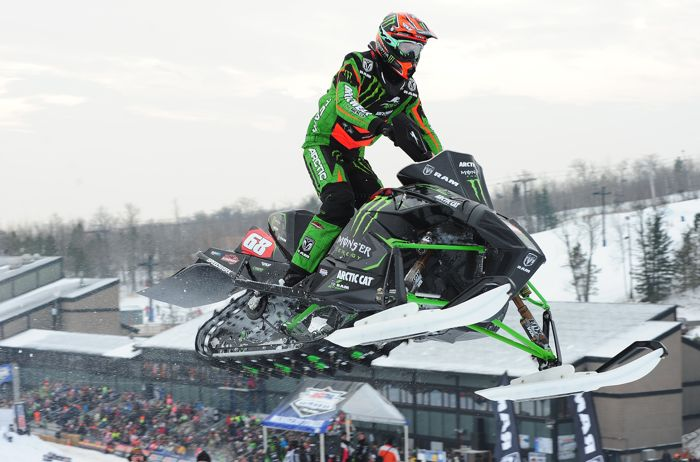 Team Monster-Arctic Cat snocross turkey Tucker Hibbert wins Duluth. Again. Photo by ArcticInsider.com