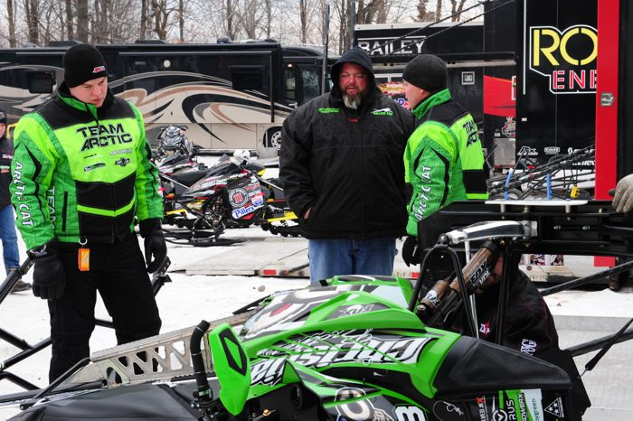 Team Arctic engineers at Duluth Snocross. Photo by ArcticInsider.com