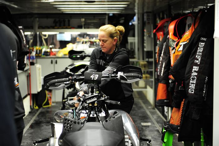 Inside the Christian Bros. Racing trailer at Duluth snocross. Photo by ArcticInsider.com