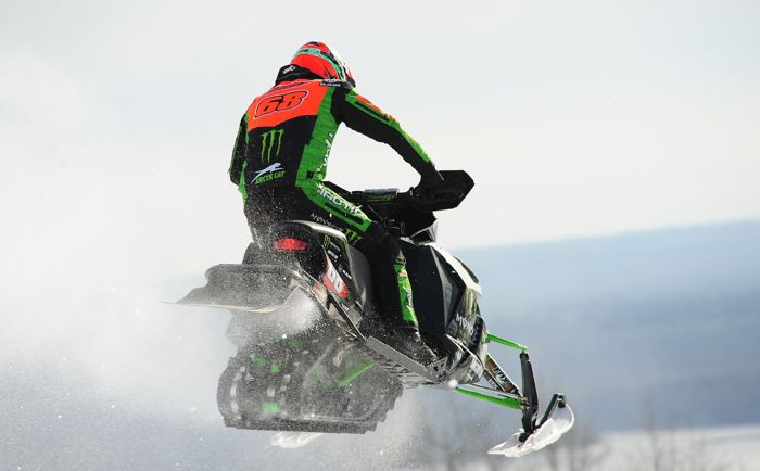 Team Monster Energy Arctic Cat snocrossing turkey Tucker Hibbert. Photo by ArcticInsider.com