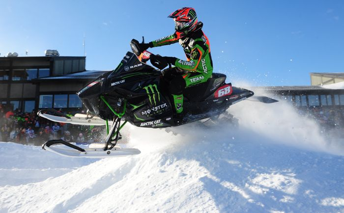 Team Arctic Cat-Monster Energy Tucker Hibbert stomps Duluth aboard the ArcticInsider-loved race sled. Photo by ArcticInsider.com