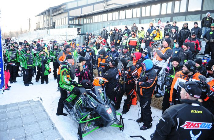 Monster Energy-Team Arctic Tucker Hibbert is interviewed following his Duluth win. Photo by ArcticInsider.com
