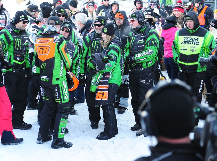 Tucker Hibbert and his Monster Energy-Team Arctic crew celebrate Duluth victory. Photo by ArcticInsider.com