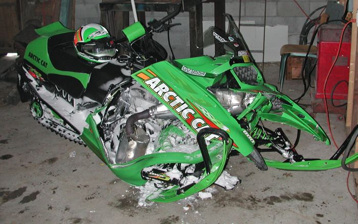 The sound of a crashed Arctic Cat.