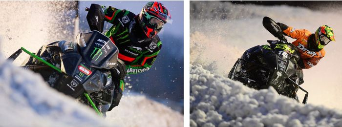 Team Arctic's Tucker Hibbert and David Joanis at Fargo Snocross