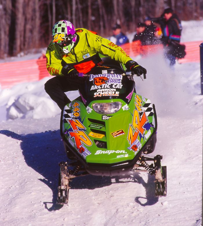 Team Arctic's Aaron Scheele, racing at Searchmont in 1996. Photo by ArcticInsider.com