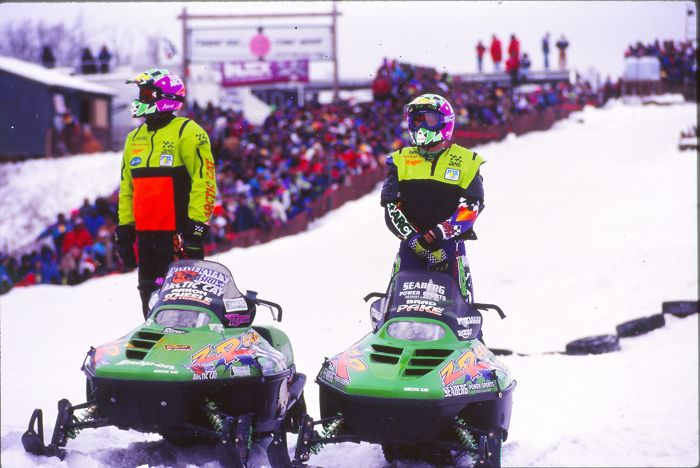 Team Arctic's Aaron Scheele and Brad Pake at the 1996 Duluth Snocross. Photo by ArcticInsider.com