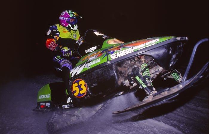 Team Arctic's Brad Pake racing snocross during the 1996-97 season. Photo by ArcticInsider.com