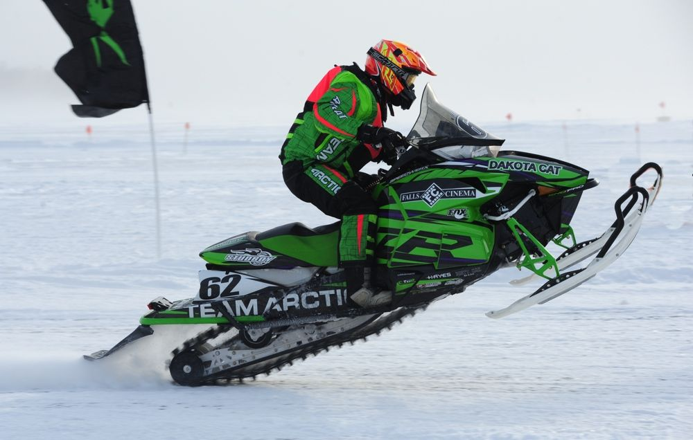 Team Arctic's Lance Efteland wins both Semi Pro races at Detroit Lakes. Photo: ArcticInsider.com