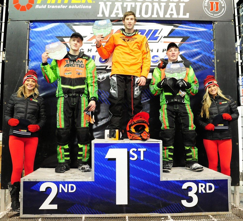 Team Arctic sweeps Sport #1 at 2015 Canterbury snocross. Photo by ArcticInsider.com