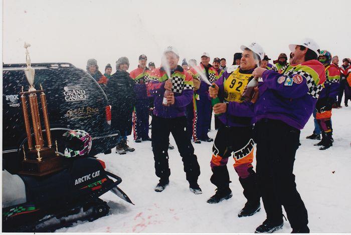 Team Arctic's Brad Pake, Jeremy Fyle and Kirk Hibbert 1-2-3 at '95 I-500. Photo_ArcticInsider