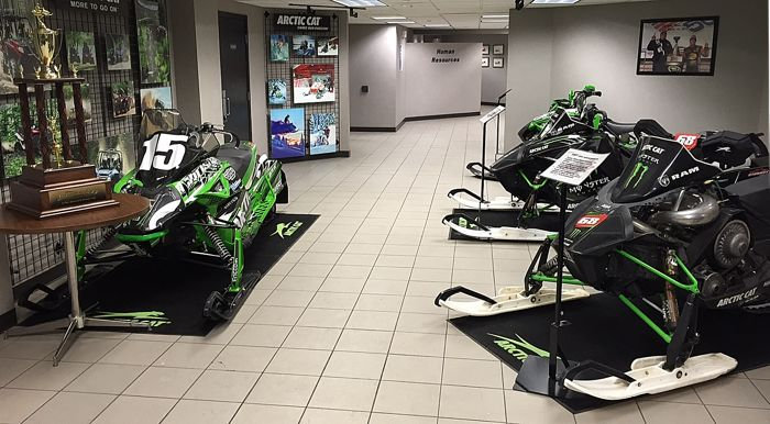 2015 Soo 500 and X Games winning Arctic Cat race sleds inside the Arctic Cat Lobby.