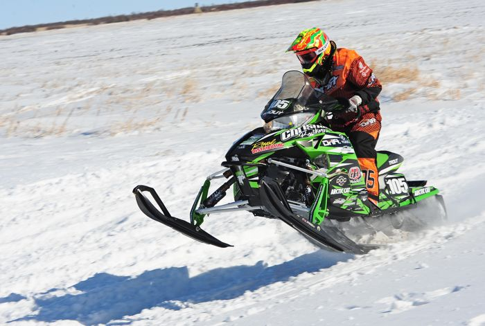 Team Arctic Cat's Ryan Trout wins Semi Pro in Warroad. Photo by ArcticInsider.com