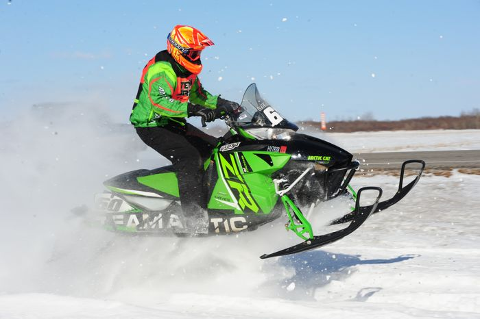 Team Arctic Cat's Mike Lenarz wins in Warroad. Photo by ArcticInsider.com