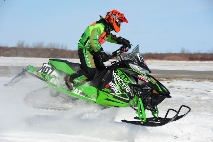 Team Arctic Cat's Brandon Wolter wins in Warroad. Photo by ArcticInsider.com