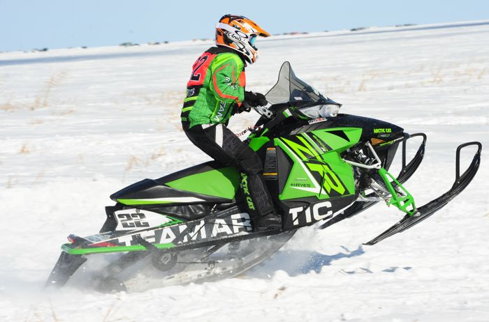 Team Arctic Cat's Jolene Bute wins in Warroad. Photo by ArcticInsider.com