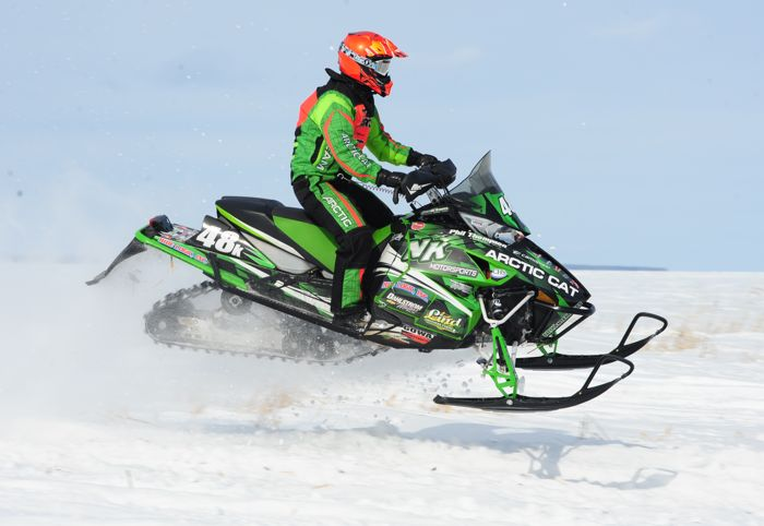 Team Arctic Cat's Timmy Kallock wins in Warroad. Photo by ArcticInsider.com