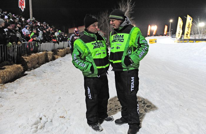 Team Arctic's Mike Kloety (R) with Race Technician Jeff Wittwer. Photo by ArcticInsider.com