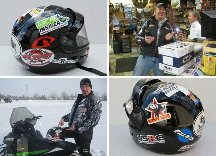 Pat's sweet custom snowmobile helmet, on its way to LEGEND status.