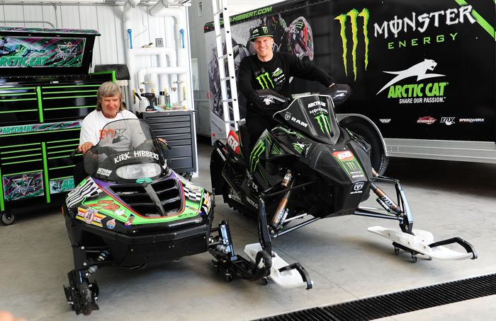 Tucker & Kirk Hibbert sitting on their Arctic Cat race sleds. Photo by ArcticInsider.com