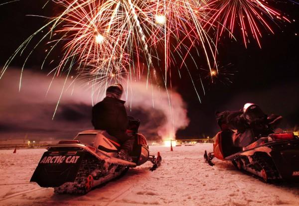 TGIF: Snowmobile fireworks