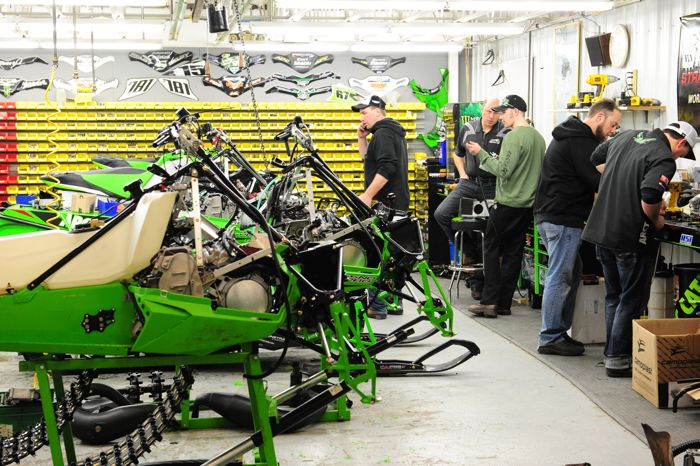 Building the 2015 Soo 500 sleds in the Team Arctic Race Shop. Photo by ArcticInsider.com