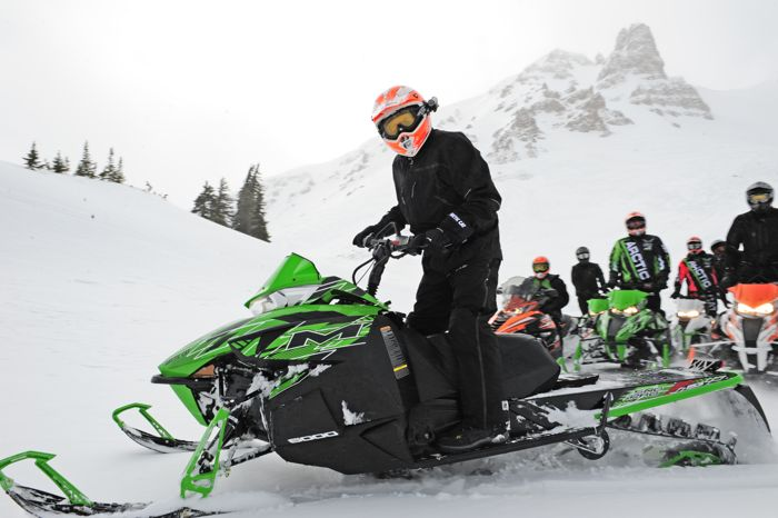 Arctic Cat engineer Bart Magner testing snowmobiles in Idaho. Photo by ArcticInsider.com