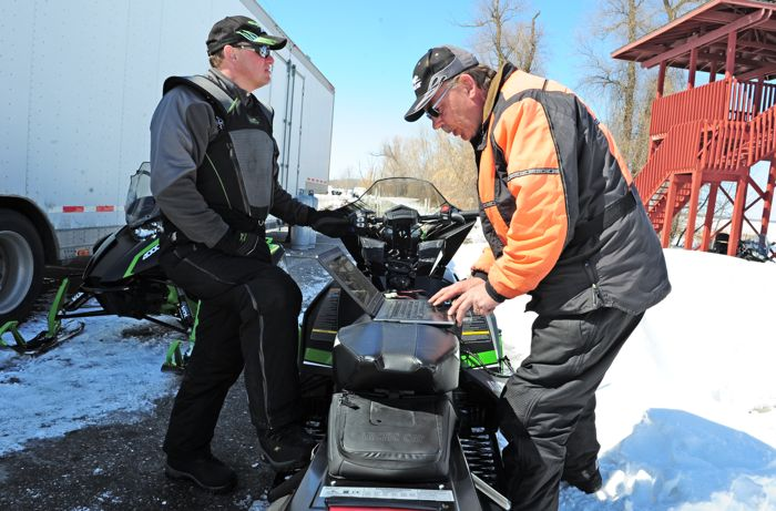 Arctic Cat snowmobile engineers Bart Magner (L) and Dave Sabo. Photo by ArcticInsider.com