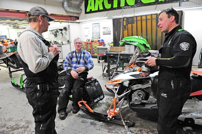 Arctic Cat snowmobile engineers L-R: Bart Magner, Roger Skime, Brian Dick. Photo ArcticInsider.com