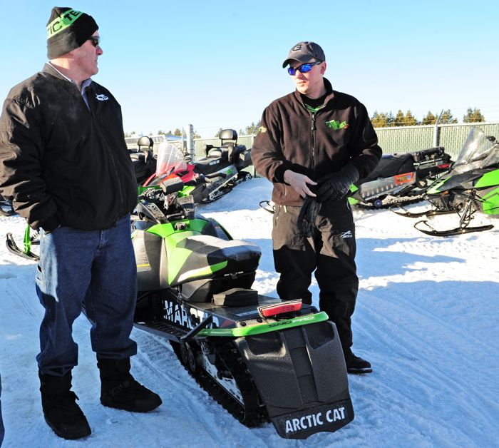Arctic Cat's Doug Braswell (L) and Lynn Berberich. Photo by ArcticInsider.com