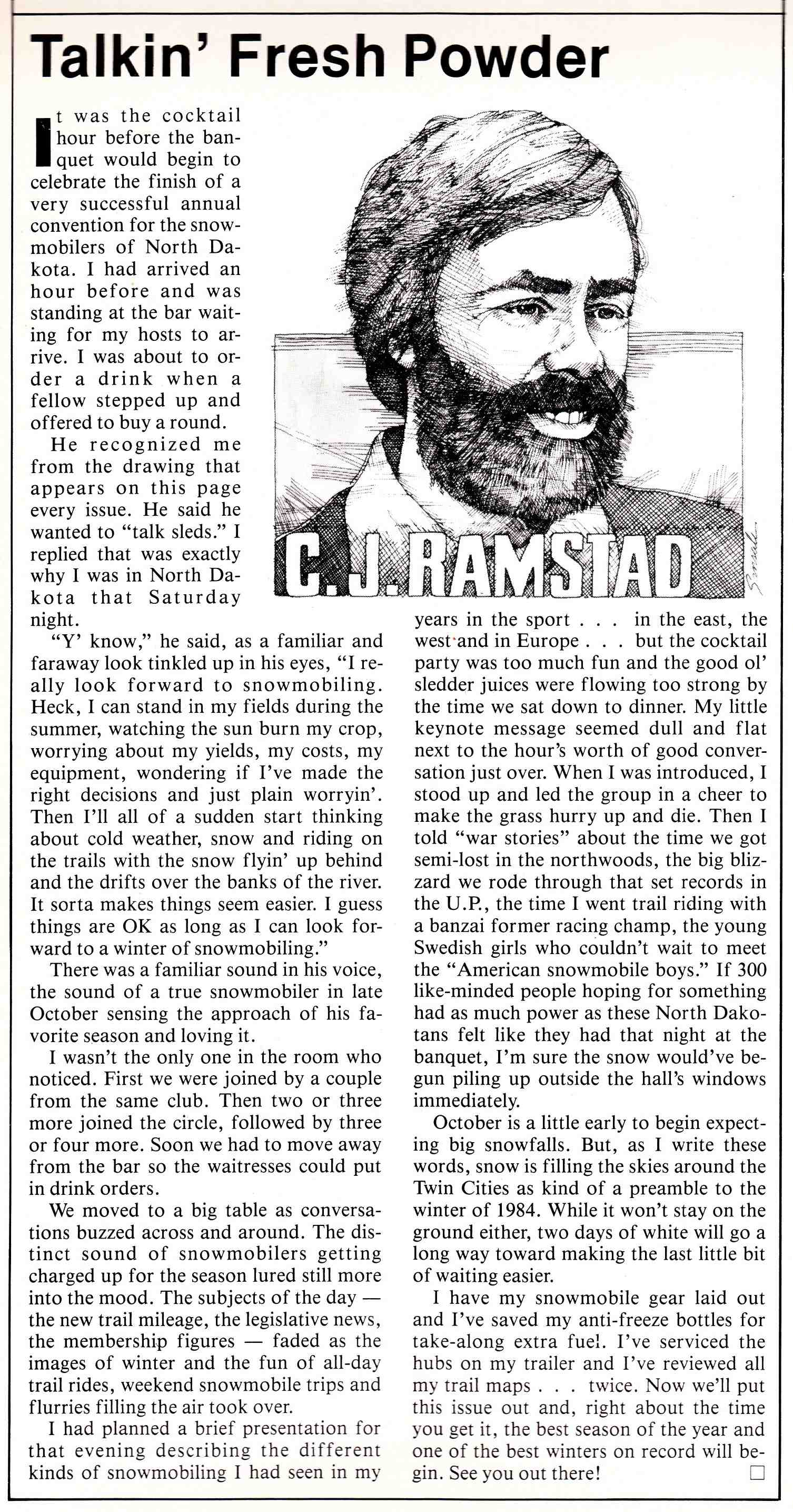C.J. Ramstad snowmobile column from 1983.