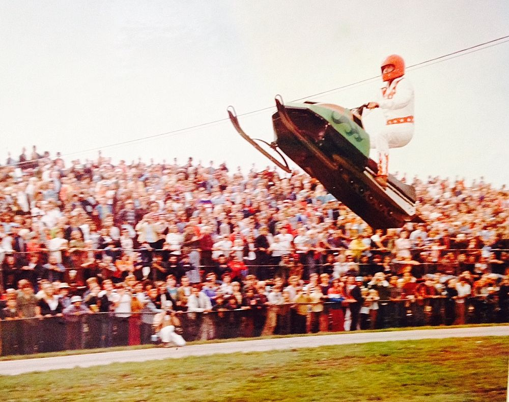 Arctic Cat's Screamin' Scott Eilertson jumps for the crowd in Union Grove, WI, 1975