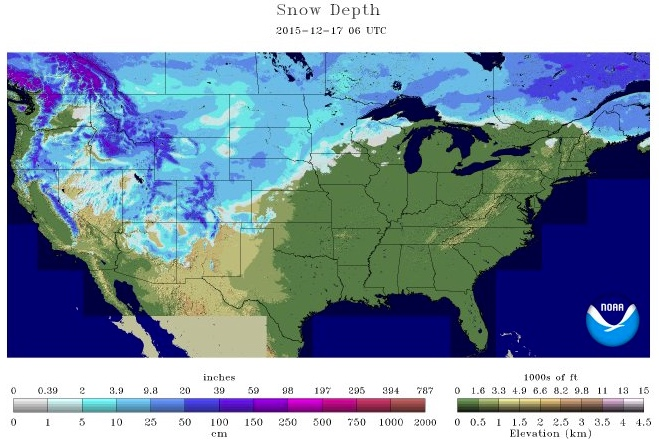 Snow depth 12-17-15