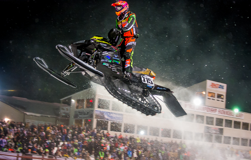 Dave Joanis wins Eagle River Friday Night Snocross. Photo by Lissa.