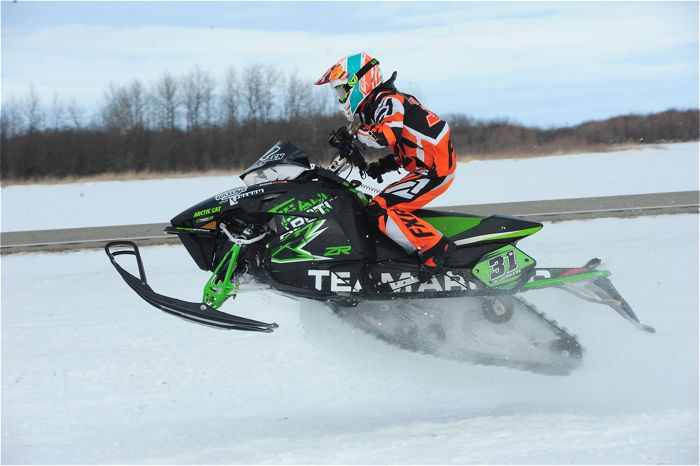 Arctic Cat racer Andy Junglen wins in Warroad. Photo by ArcticInsider.com